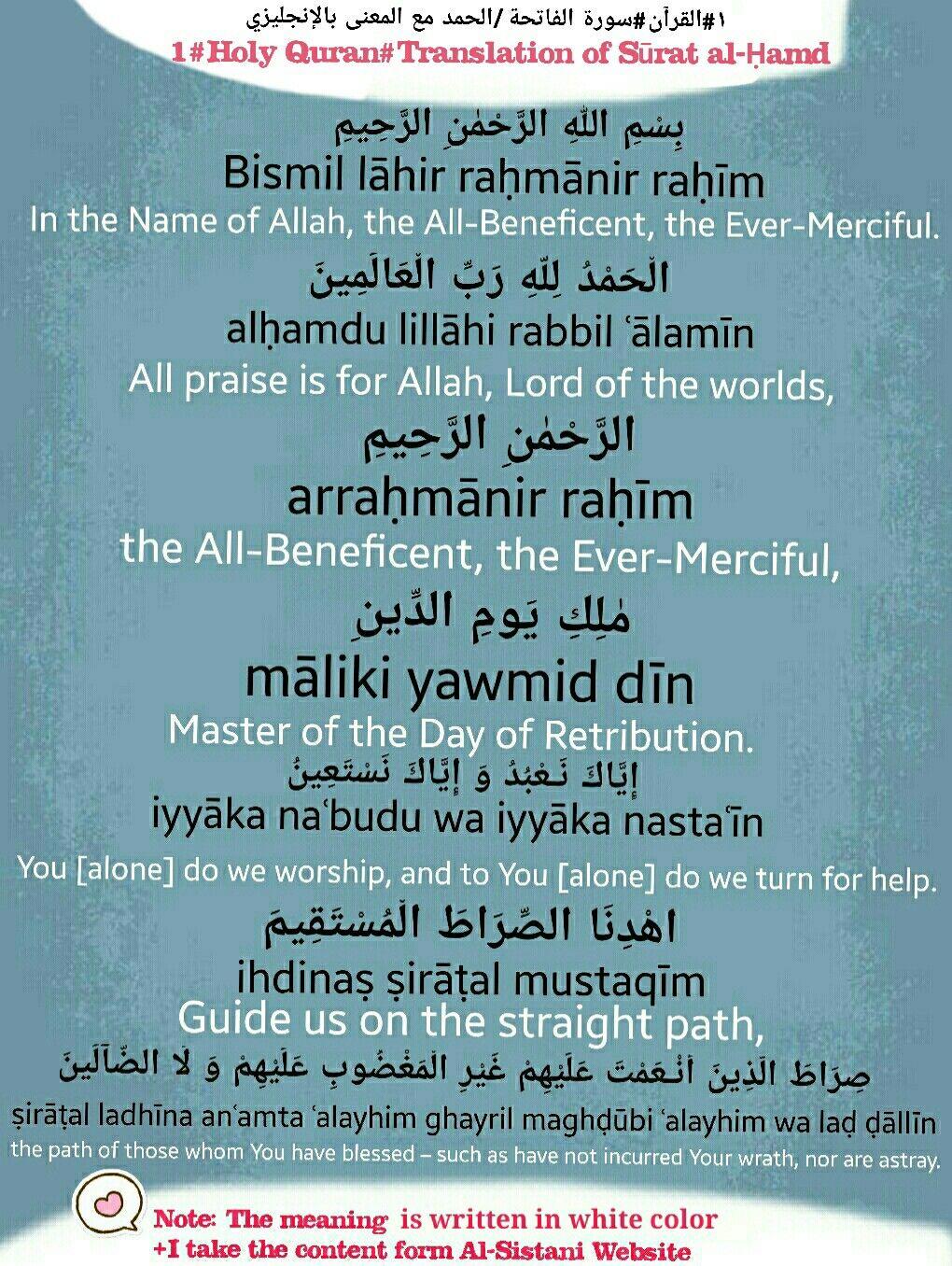 1 Translation Of Surat Al ḥamd Al ḥamd سورة الفاتحة الحمد بالإنجليزي مترجمة معنى إنجليزي English Quran Translation Quran In English Holy Quran