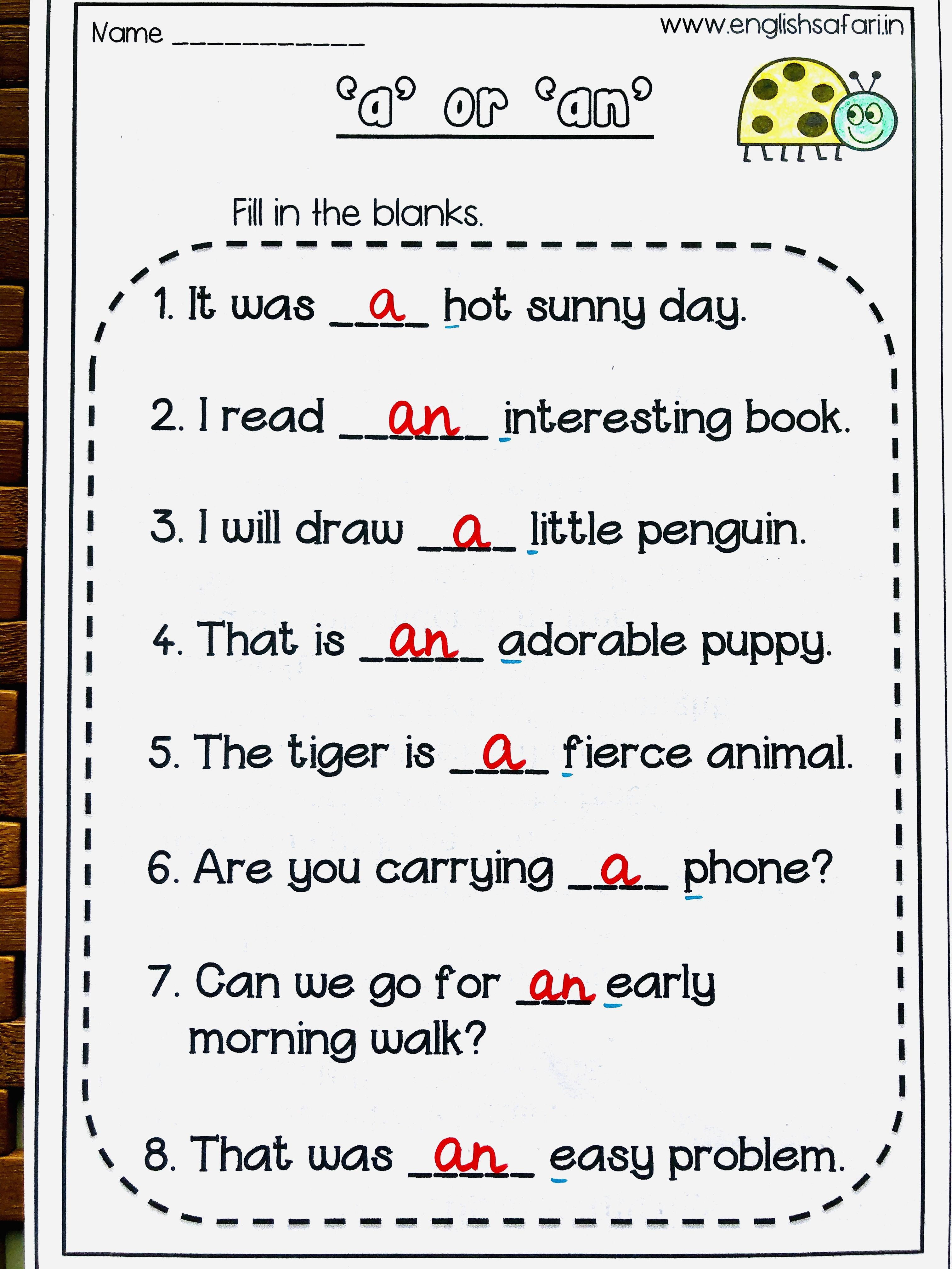 Free A An Worksheet Www Englishsafari In English Worksheets For Kids Word Family Worksheets Grammar For Kids English worksheets grade english