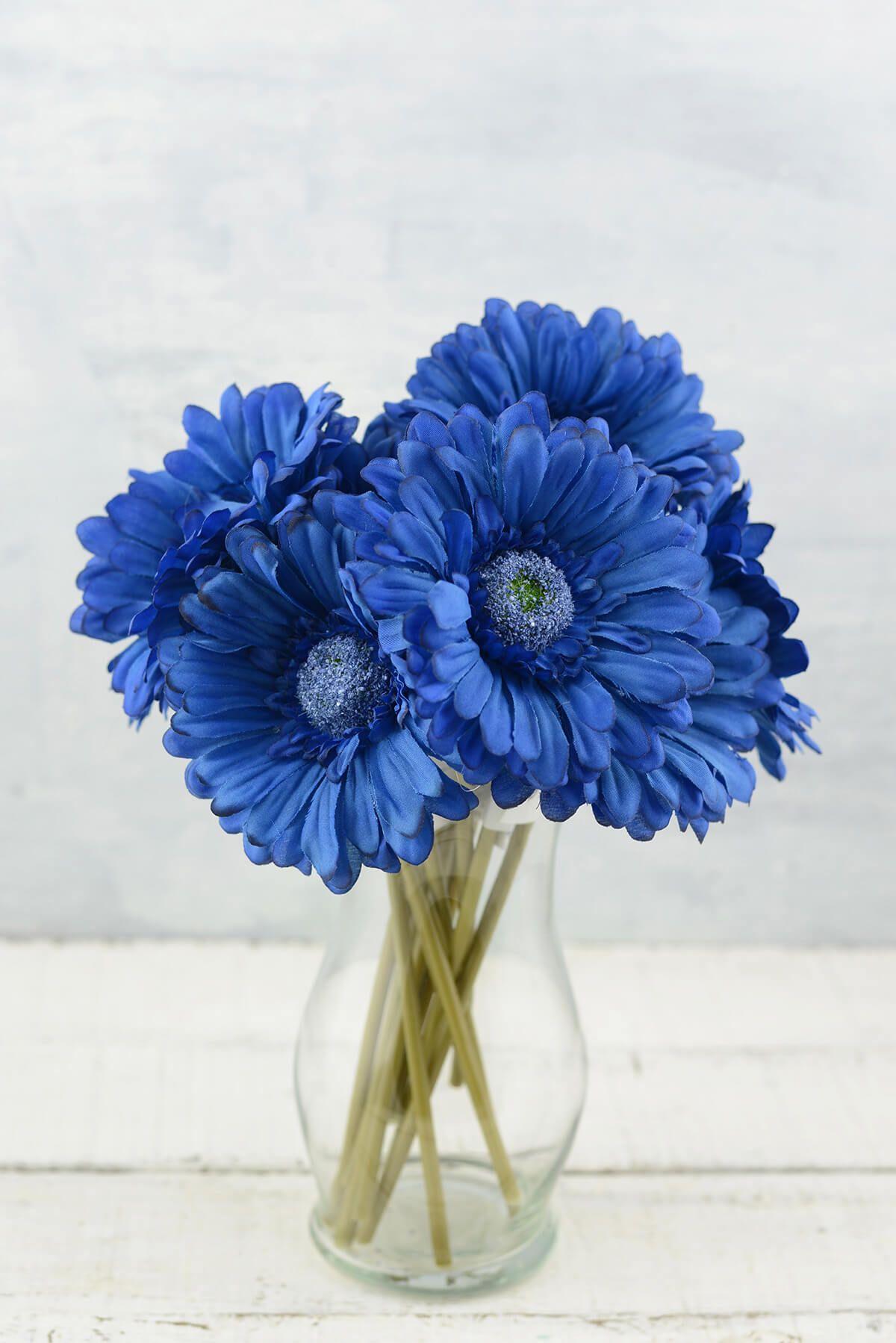 24 Blue Silk Gerbera Daisy Flowers Gerbera Daisy Gerbera Daisy Wedding Daisy Centerpieces