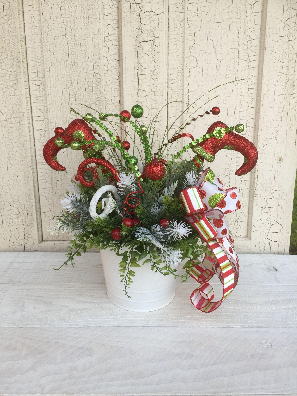 Christmas Centerpiece Christmas Table Centerpiece Christmas Floral Arrangement Elf Christmas Arrangements Christmas Centerpieces Christmas Floral Arrangements