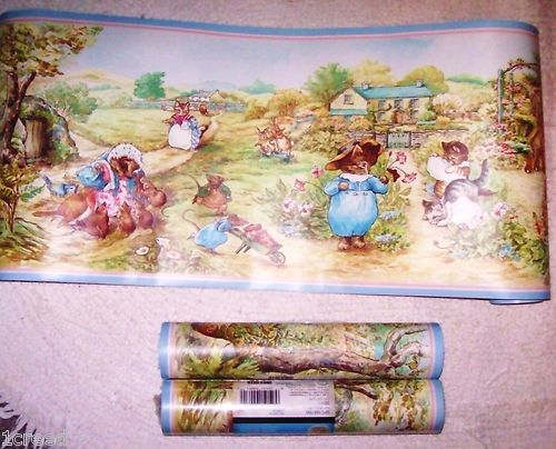 New beatrix potter peter rabbit friends wallpaper wall - Peter rabbit nursery border ...