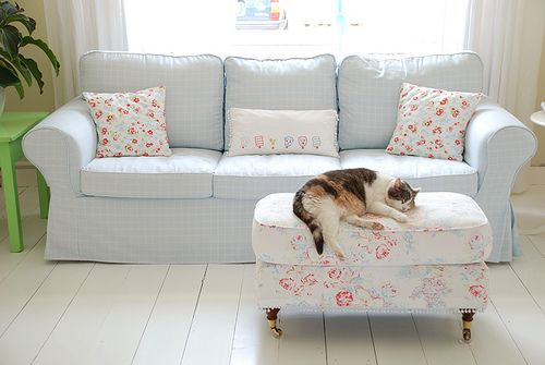 Rp Sofa From Ikea With A Clic Ruta Eggs Blue Cover Bemz By Yvestown Via Flickr Cath Kidston Ottoman And Pillows