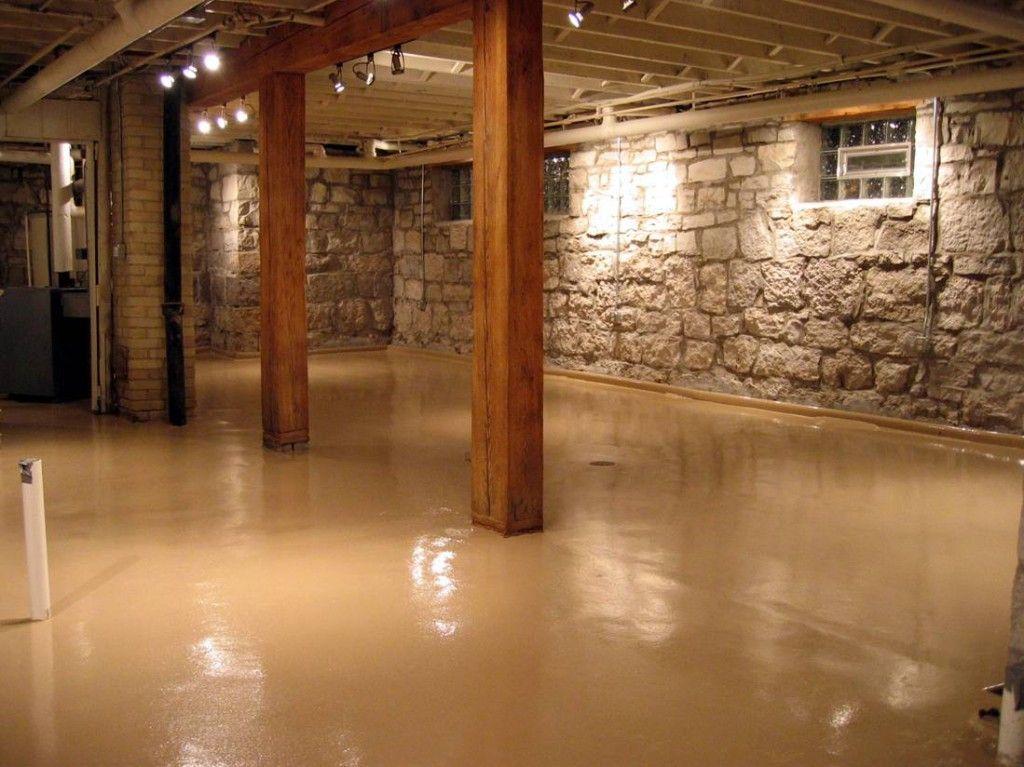 Paint Concrete Basement Floor Ideas plus ceilingbeige instead of white or black. Would look good with wood accent wall & Paint Concrete Basement Floor Ideas plus ceilingbeige instead of ...