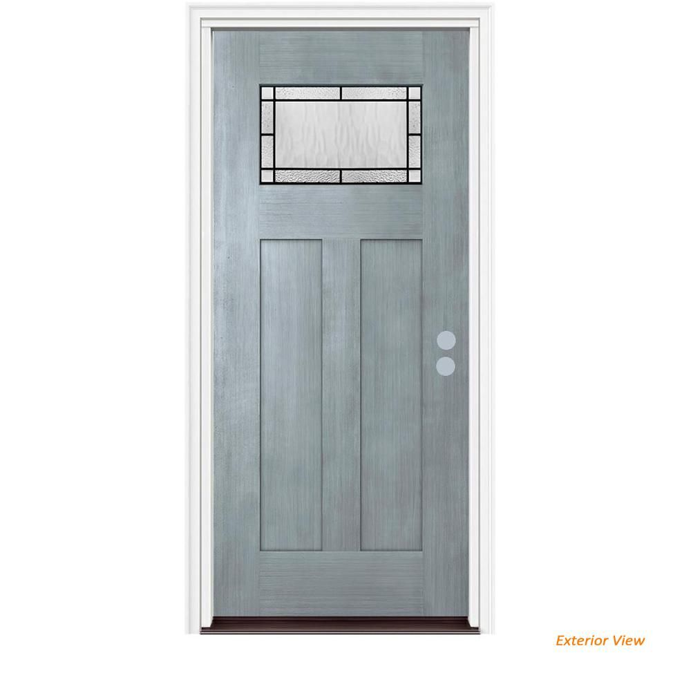 Jeld Wen 36 In X 80 In 1 Lite Craftsman Wendover Stone Stained Fiberglass Prehung Left Hand Inswing Front Door W Brickmoul Front Door Wendover Craftsman Door