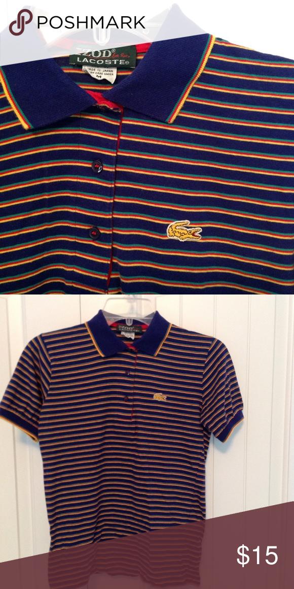 bc2fdc53e Lacoste boys polo M Boys striped Izod/Lacoste polo. 100% cotton. Purple  w/red, green, and yellow stripes. Rare 'gold' Lacoste alligator on chest!