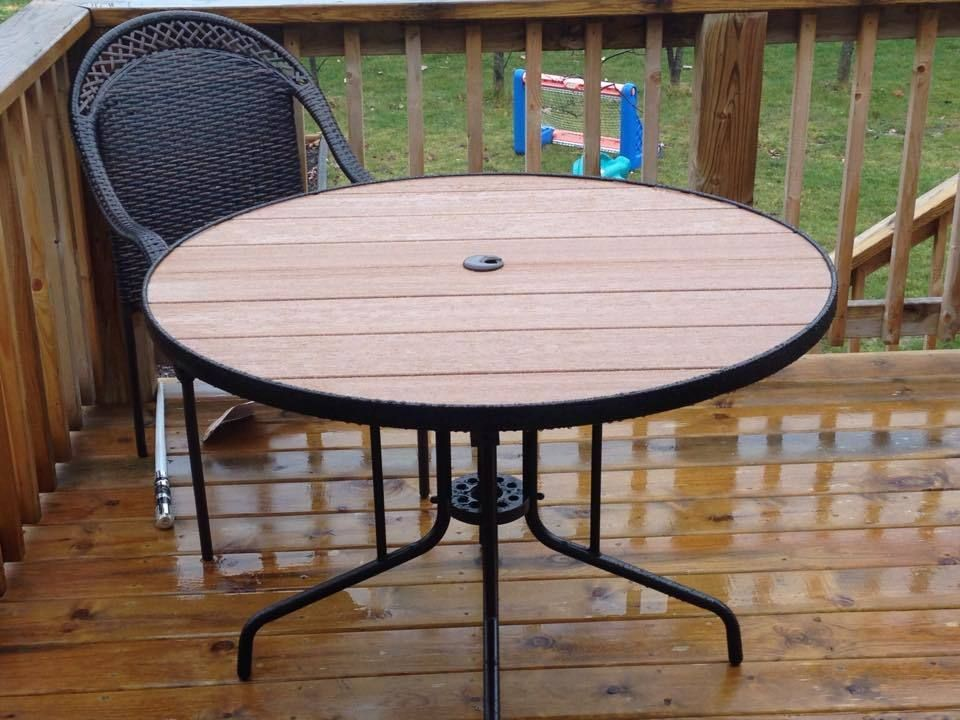 Ryobi Nation Patio Table Top Replacement Round Decor Furniture Makeover - How To Replace Glass Patio Tabletop With Tile