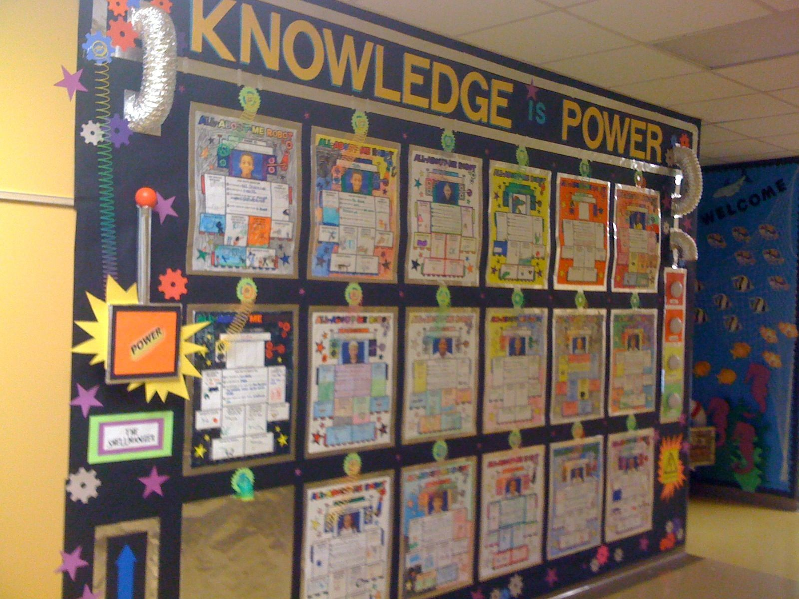 Knowledge is power robots board space classroom