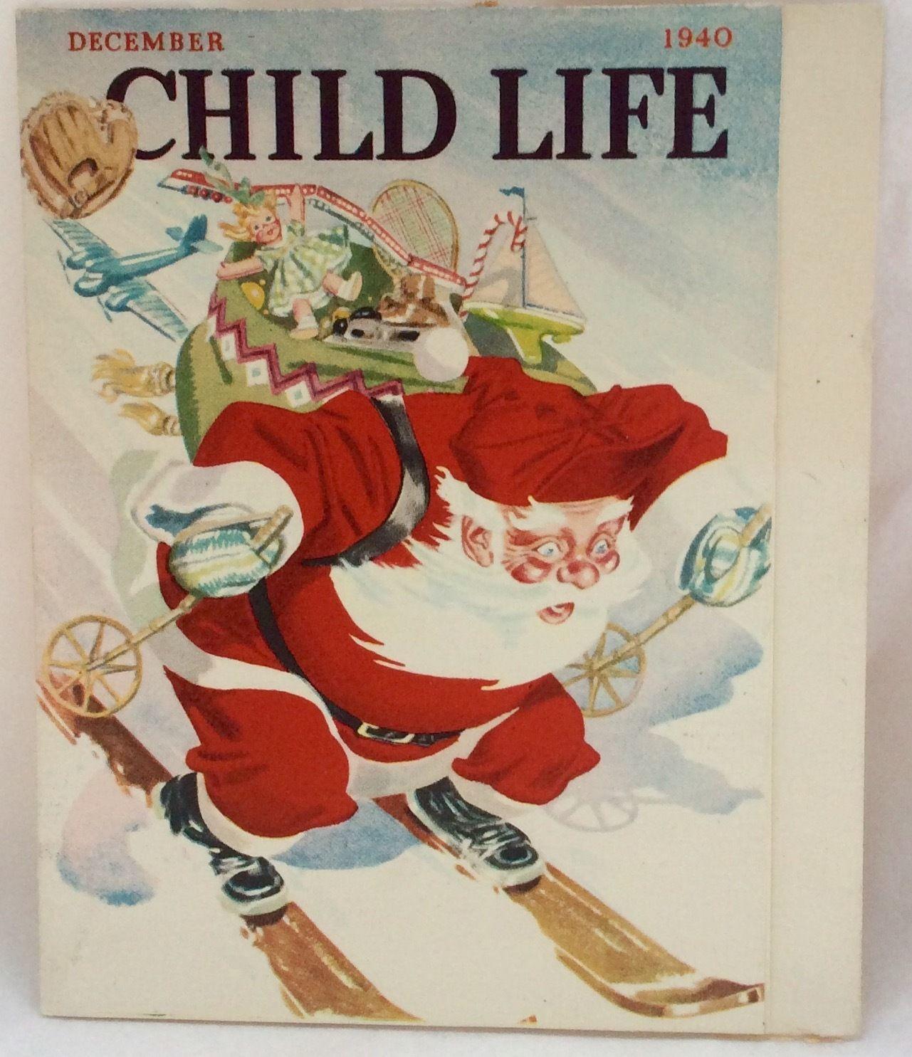 1940 Child Life Magazine Santa Skiing Backpack Vintage Christmas ...