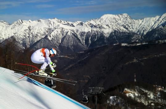 Bode Miller of the United States competes during the Alpine Skiing Men's Super Combined Downhill at Rosa Khutor Alpine Center on Feb.14.