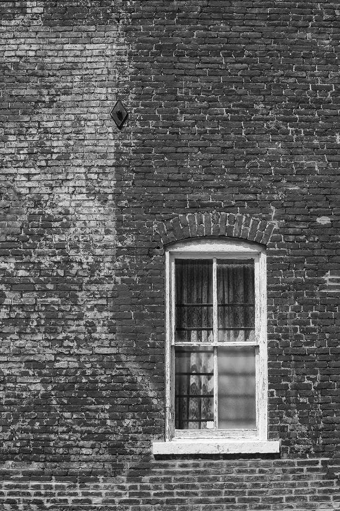 Lace Curtains And Red Brick Wall Black And White Photograph Black Brick Wall Red Brick Walls Black Brick