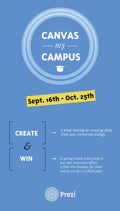 What makes your school unique? Create a prezi that tells a story about why your college or university is special, and enter it into the Canvas My Campus contest for a chance to win a spring break internship at our San Francisco office and EDU Pro licenses for your entire campus! For more details, click here: https://prezi.com/canvas-my-campus/?rc=pi0eng0canvasmycampus. #canvasmycampus