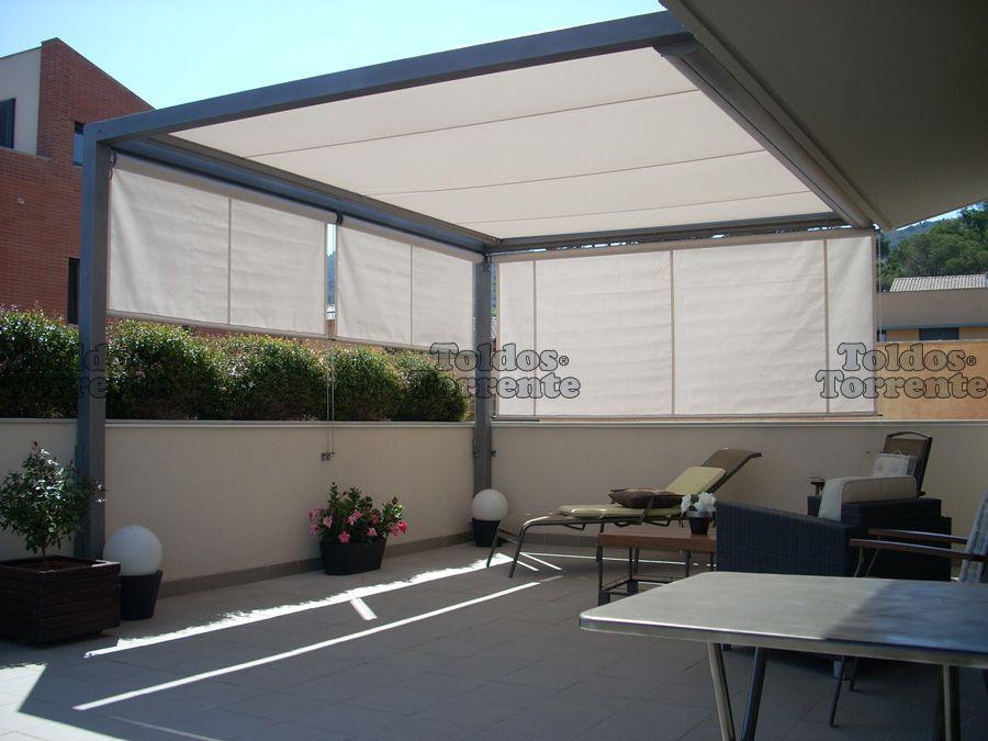 Toldos para terraza planos de veranda jardin pinterest for Planos terrazas exteriores