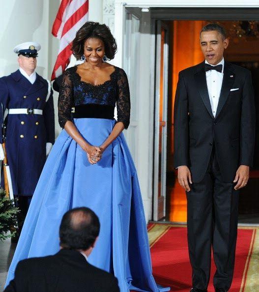Michelle Obama in Carolina Herrera for State Dinner -