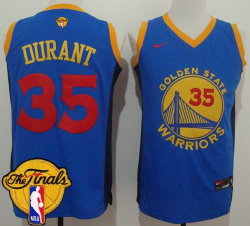 size 40 26cd4 fa5f7 Warriors #35 Kevin Durant Blue Red No. Fashion The Finals ...