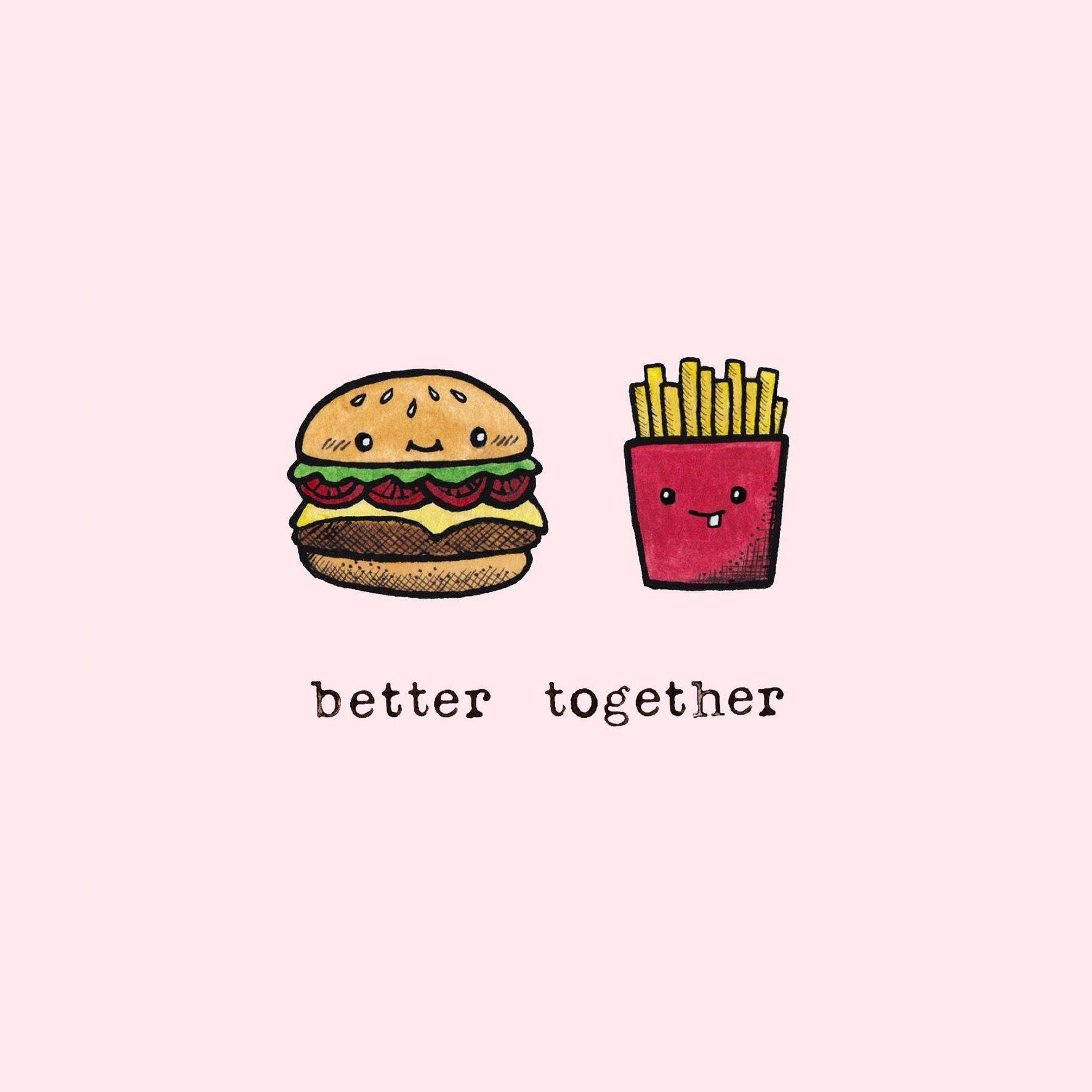Hamburger French fries … Cute food wallpaper, Cute