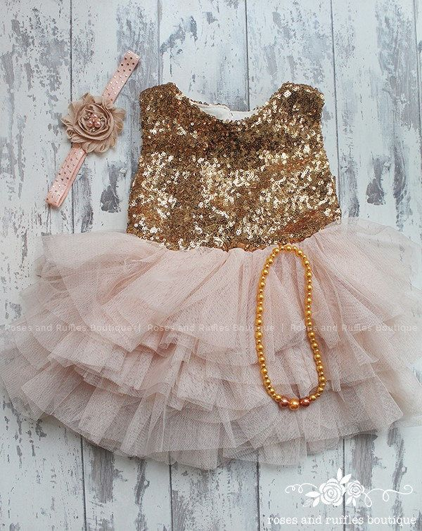 fce16a48f6 Champagne Gold Baby Dress