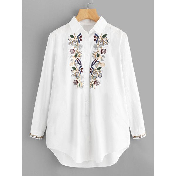 fcd9cf502c3 SheIn(sheinside) Flower Embroidery Longline Blouse ( 27) ❤ liked on  Polyvore featuring tops