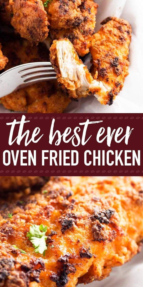 The BEST recipe for Crispy Oven Fried Chicken! Boneless and skinless chicken breast is breaded with breadcrumbs and baked to buttery, crunchy perfection. Simple to make, this might not be healthy food but it s a lot healthier than getting KFC. Serve with #crispyovenbakedchicken