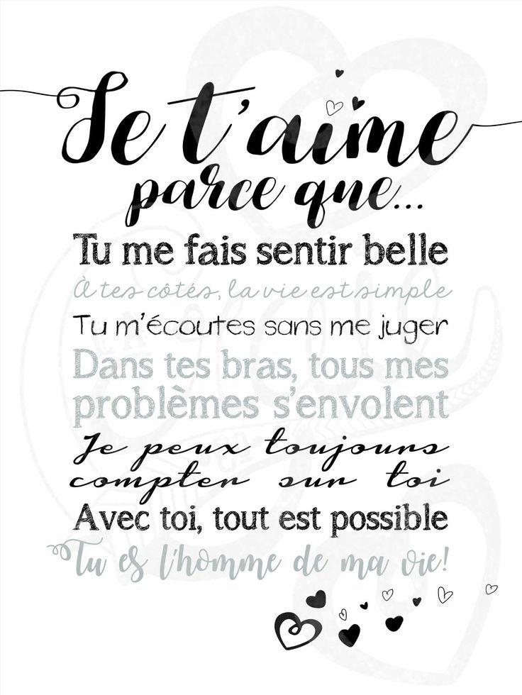 Affiche Je Taime Parce Que Fond Blanc Quotes French