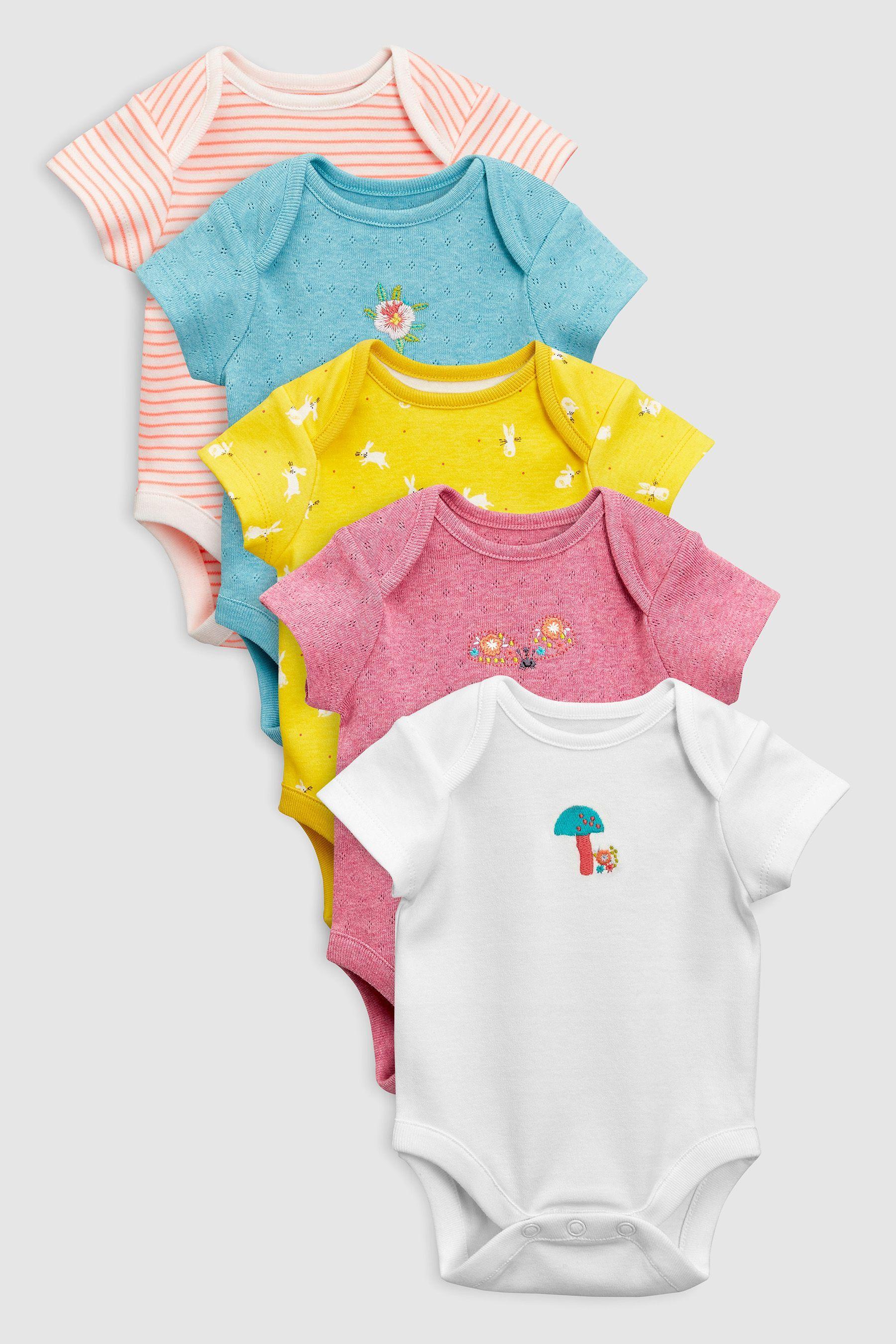 4d2149b88 Girls Next Multi Woodland Short Sleeve Bodysuits Five Pack (0mths-2yrs) -  Pink