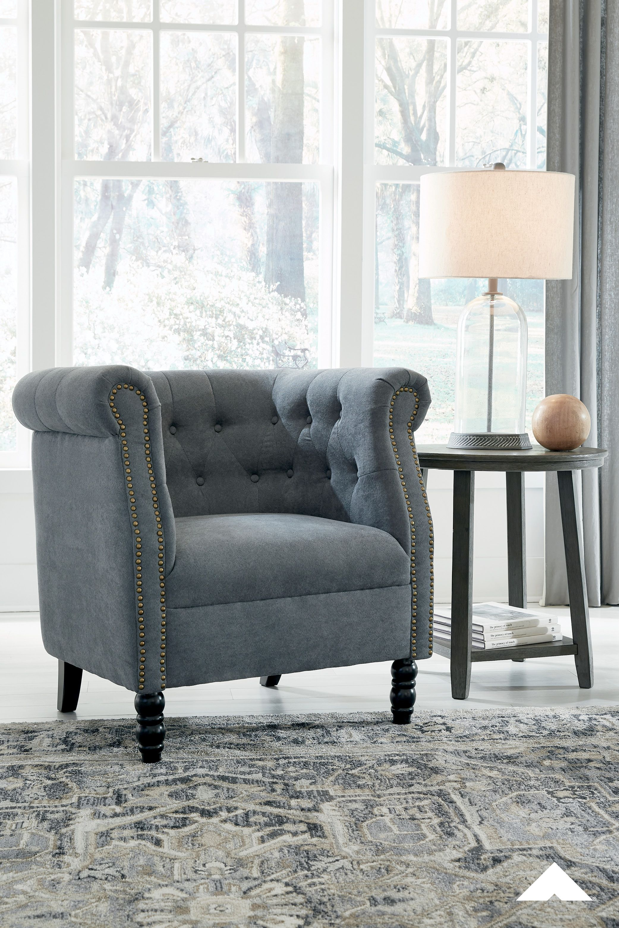 Jacquelyne Slate Blue Accent Chair By Ashley Furniture Bring A European Style To Your Home With This Accent Chair The Slate Blue Color Is S In 2020 Blue Accent Chairs