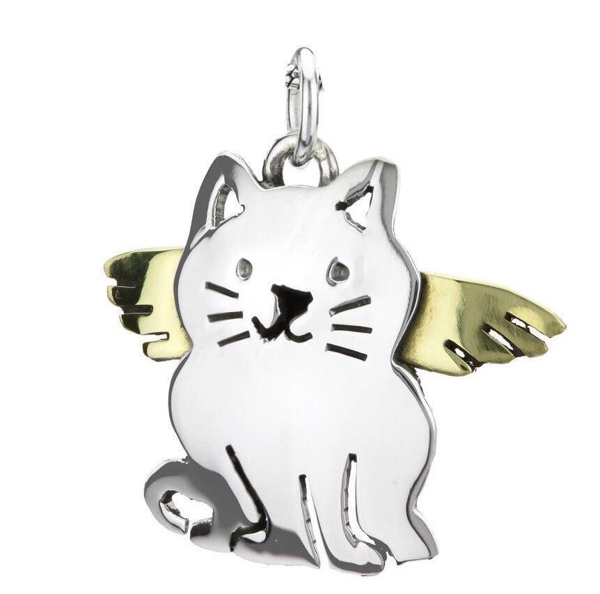 Fine Jewelry Fine Charms & Charm Bracelets NEW Tiny Cat Charm Sterling Silver .925 Sitting Silhouette