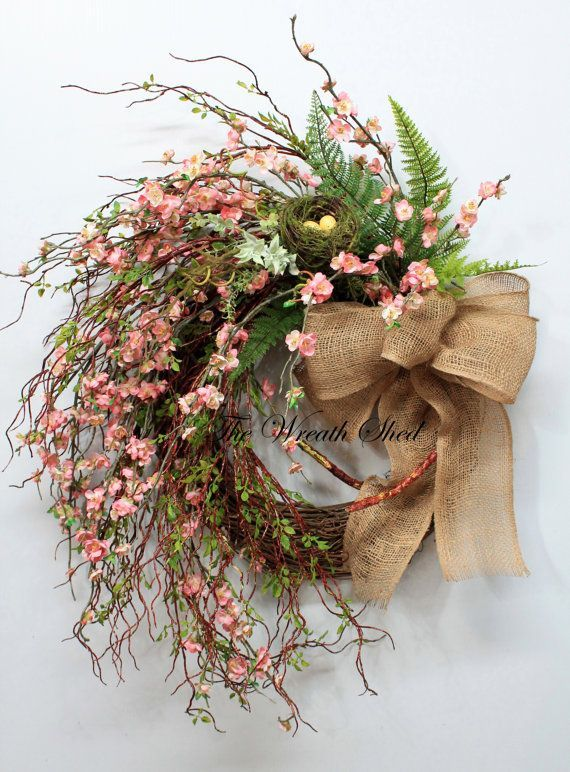 Photo of Unique peach blossoms, large spring wreath, rural summer wreath, front door wr …