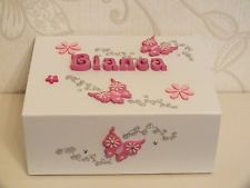 Personalised Girls Medium Memory Box Keepsake Christening Baby Birth