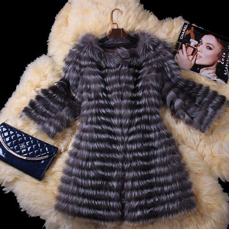 100% Настоящее Silver Fox Шуба Зима Повседневная Настоящее Шубы для Женщин Подлинная Фокс Шуба Долго Стиль Верхней Одежды Пальто BF C0006 купить на AliExpress