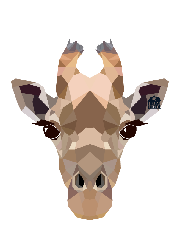 Geometric Giraffe Art Print Painting Inspirations