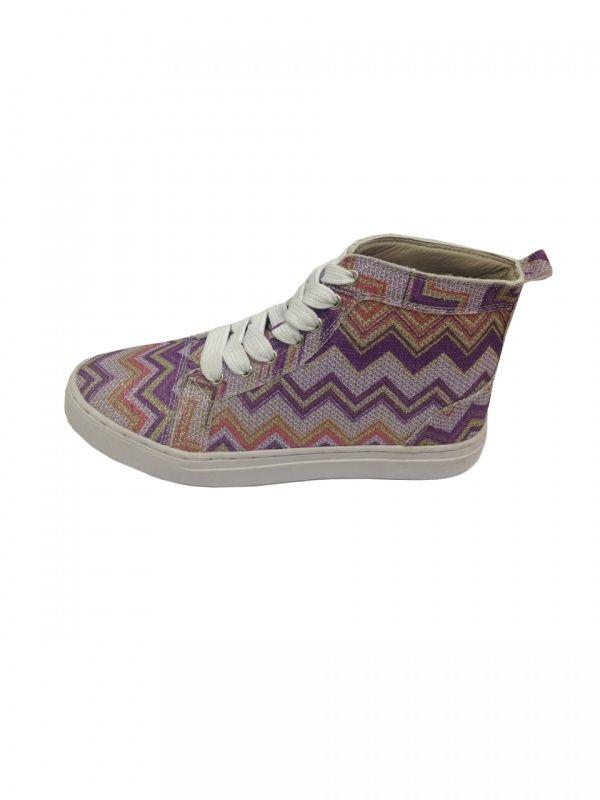 Missoniprint sneakers van Jacky Luxury in zilver met lila-paars.   FASHION OBSESSION