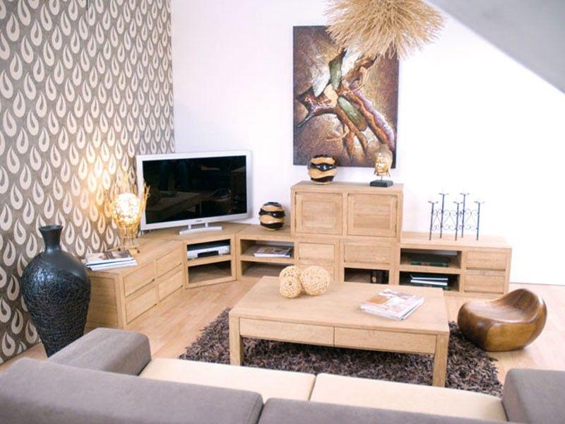 Meuble TV du0027angle Oscar 2 niches en bois de châtaignier - Meubles - location appartement meuble toulouse