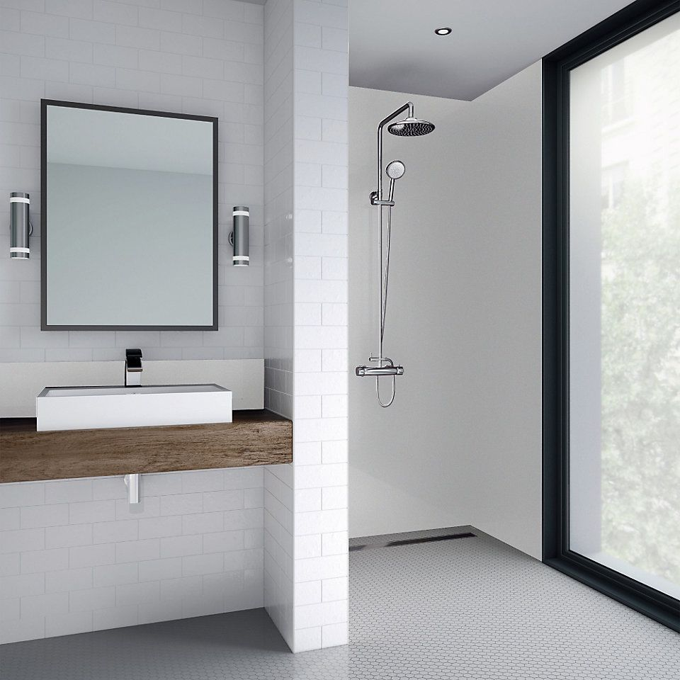 Splashwall White Single Shower Panel L 2440mm W 1200mm T 4mm Shower Wall Kits Bathroom Design