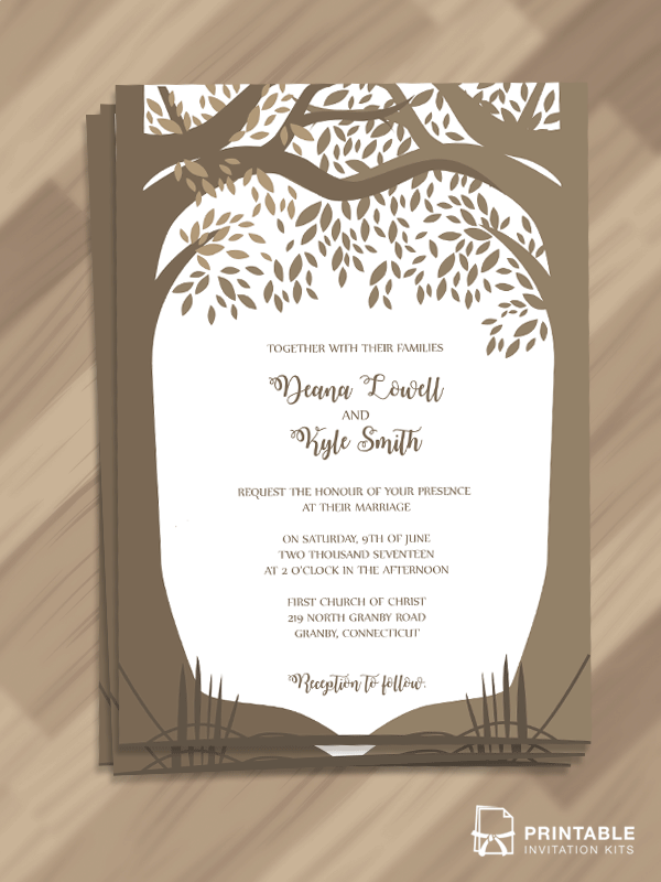 Romantic Woods Trees Fall Wedding Invitation Wedding Invitation Templates Wedding Invitation Card Template Wedding Invitation Format