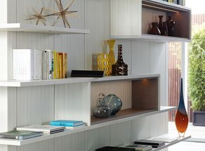 CaliforniaClosets Virtuoso Shelving Systems Can Incorporate Long Unbroken Lines As Well Special Lightbox Living Room