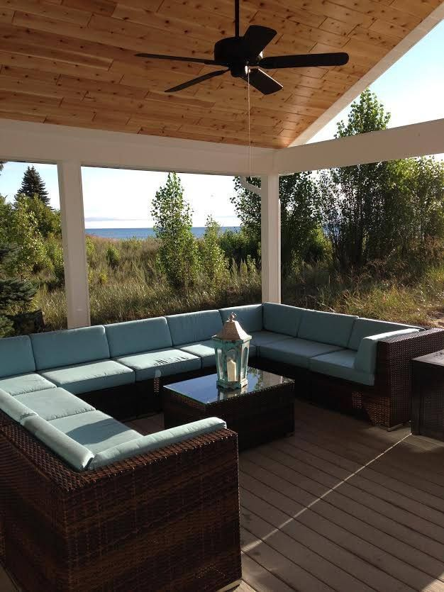 Ohanau0027s Deep Seating Set In Mixed Brown Wicker With Sunbrella Mineral Blue  At A Beautiful Beach