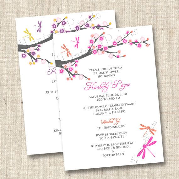 Cherry blossoms and dragonflies custom bridal or by tintsandprints cherry blossoms and dragonflies custom bridal or baby shower invitation design filmwisefo Images
