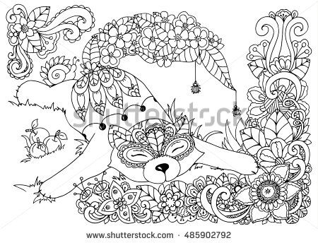 Vector Illustration Zen Tangd Cat Sitting In The Flowers Coloring Book Anti Stress For Adults Black And White