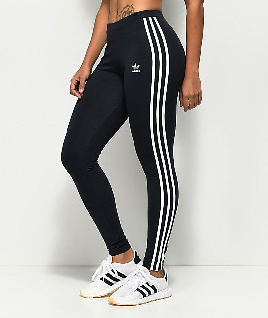 Adidas 3 Stripe Dark Blue Leggings Outfits With Leggings Black Leggings Outfit Striped Leggings Outfit