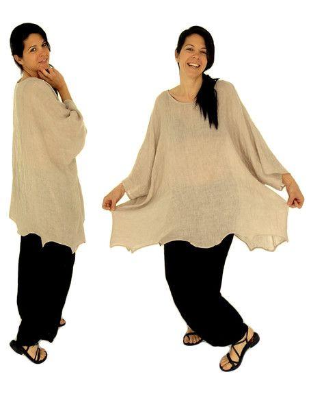Túnicas - HJ100BG túnica blusa poncho de color beige - hecho a mano por…
