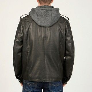 @Overstock - Faux leather construction and a convertible collar lend versatility to this black military style jacket from R With removable lining and a button off hood this jacket is finished with multiple functional pockets.http://www.overstock.com/Clothing-Shoes/R-O-Mens-Black-Faux-Leather-Multi-Pocket-Jacket/6290694/product.html?CID=214117 $91.99
