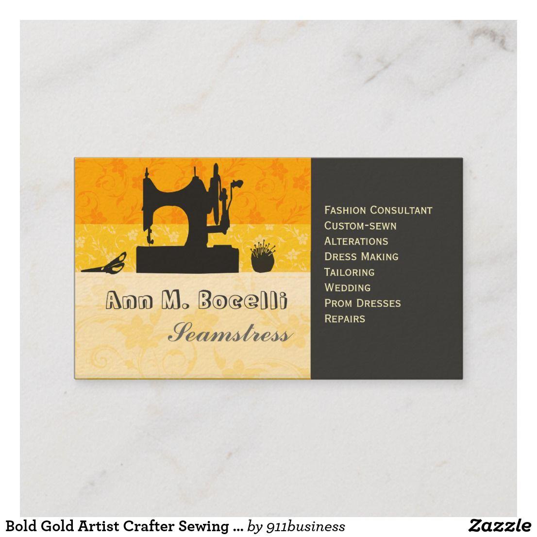 Bold Gold Artist Crafter Sewing Machine Customized Business Card Zazzle Com Custom Business Cards Floral Business Cards Vintage Sewing Machines
