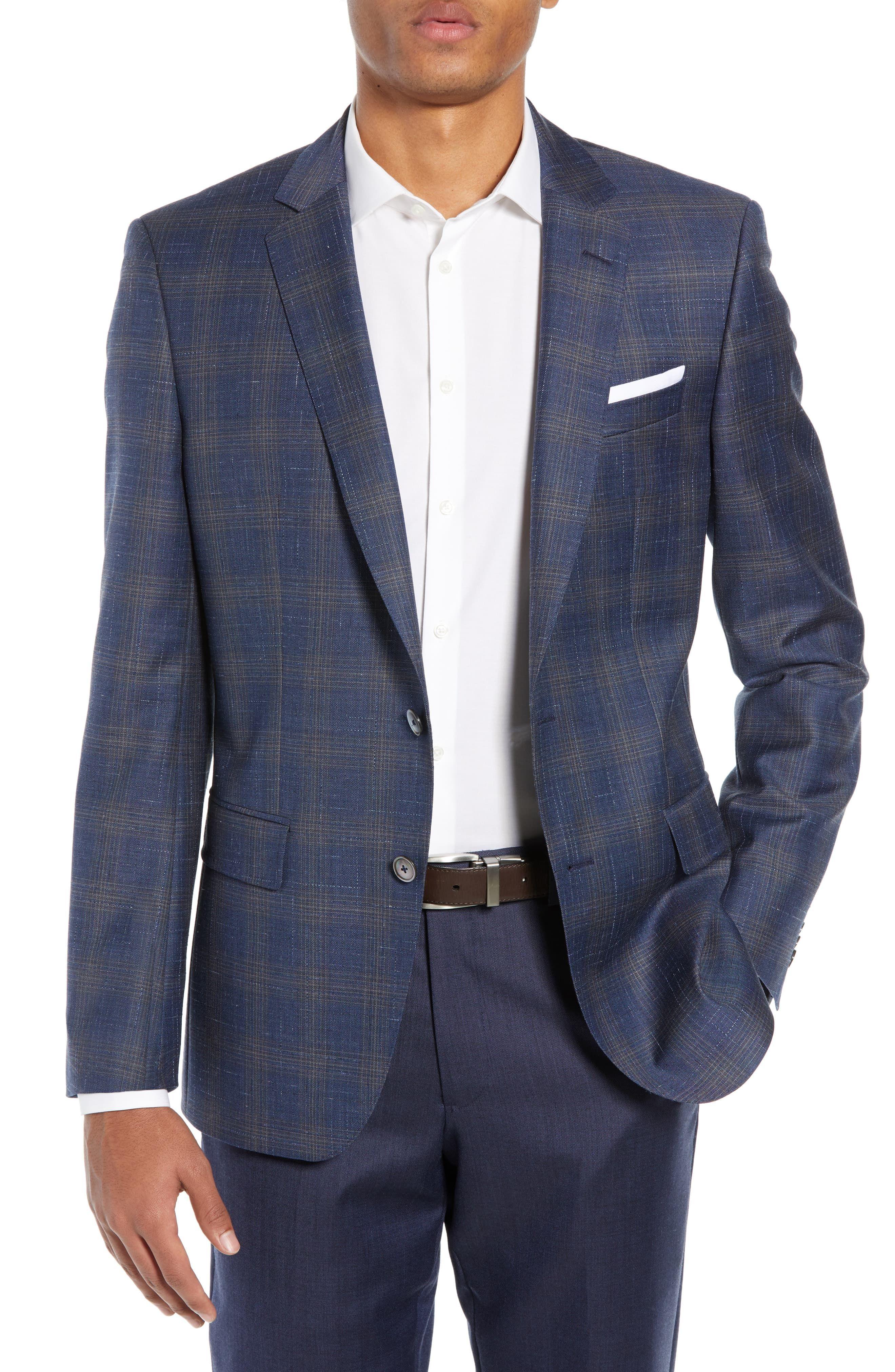 d1984a809 Men's Boss Hutsons Slim Fit Plaid Wool Sport Coat, Size 36 R - Blue ...