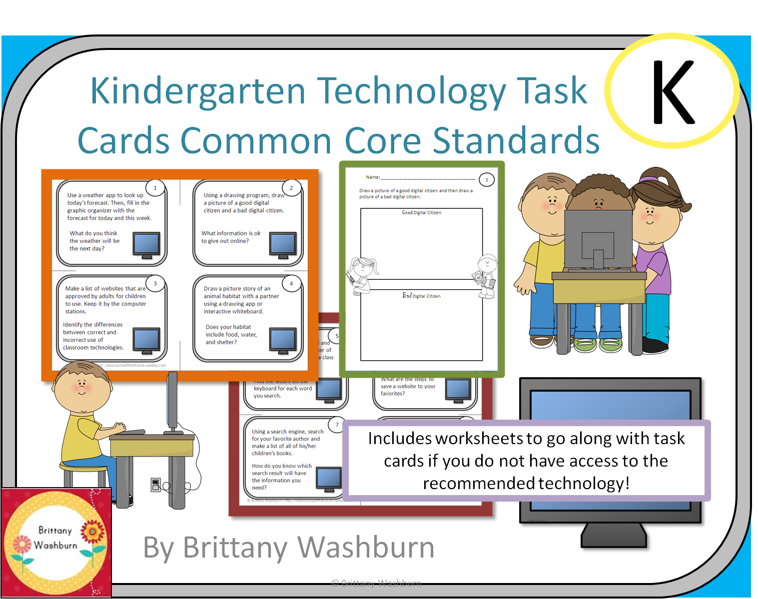Kindergarten Task Cards To Integrate Technology Into The