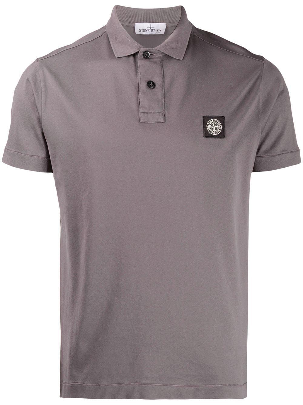 Stone Island Stone Island Embroidered Logo Polo T Shirt Grey Stoneisland Cloth Polo T Shirts Stone Island Shirts Grey
