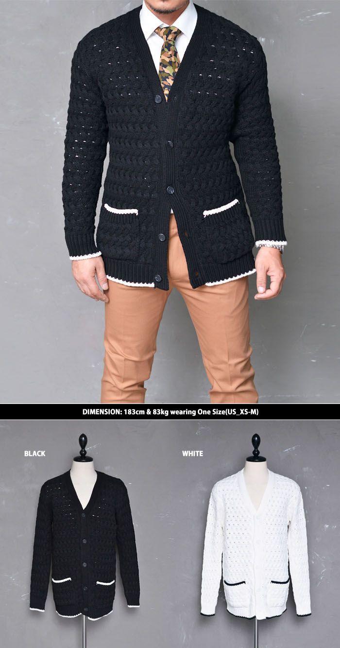Mens Sleek & Modern Contrast Cable Jacket Cardigan By Guylook.com ...