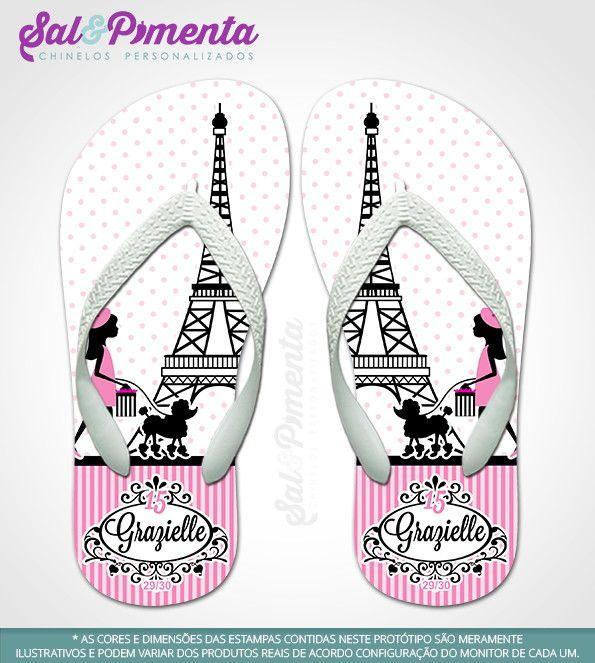 4f14de0842ab9d Chinelos Personalizados PARIS - 15 Anos