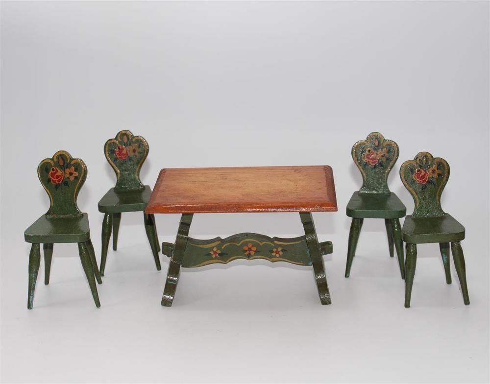 alter Tisch, Stühle, Bauernstube Bauernmalerei Puppenstube ca. 1930 #C611 in Antiquitäten & Kunst, Antikspielzeug, Puppen & Zubehör   eBay