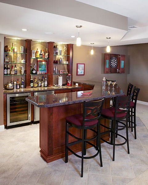 Bar Design Ideas For Home image of small home bar design ideas Traditional L Shaped Basement Bar With High Countertop Installed Stained Maple Wood With Black