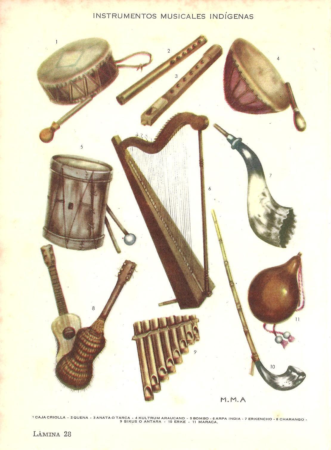Instrumentos Musicales Indigenas Lamina Extraida De Nuevo Diccionario Enciclopedico Y Atlas Universal C Instrumentos Musicales Instrumentos Tatuajes Creativos